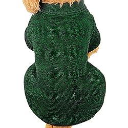 para el suéter de para mascotas, Sannysis caliente de la moda del perrito caliente del animal doméstico del perro ropa de perros suéter de lona suave nueva camiseta casual para perros gatos (M, Ejercito verde)