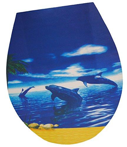 """Aufkleber - für Toilettendeckel / Klodeckel - """" Delfine springen - am Strand """" - WC Toilettensitzaufkleber / Sticker Bad - Sitz - Badezimmer - Tier - Folie Toilettensitz Klo - Fische / Delfin"""