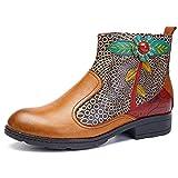 Socofy Damen Kurzschaft Stiefel, Blume Boots Klassische Ankle Boot Kurz Stiefel Handmade ANIT-Rutsch Komfort Lederschuhe