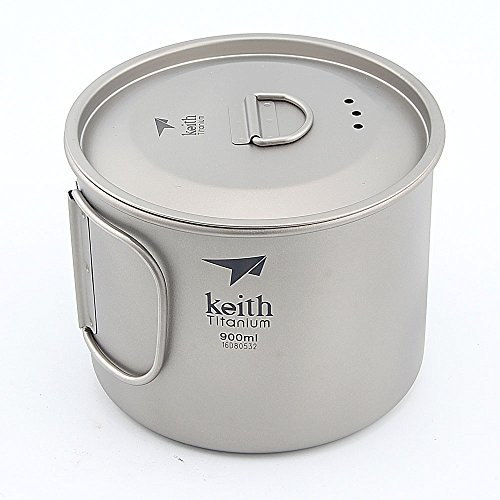 Keith 220ml-900ml Outdoor Ultralight Titanium Mug Titanium Water Cup With Lid Camping Mug