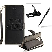 Wallet Case for LG G4,Flip Case with Strap for LG G4,Herzzer Book Style Cute Black Panda Pattern Magnetic Stand Card Holder Case with Soft Inner for LG G4 + 1 x Free Black Cellphone Kickstand + 1 x Free Black Stylus Pen