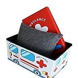 Style home Faltbarer Sitzhocker Aufbewahrungsbox für Kinder- Ambulance - Kunstlederbezug
