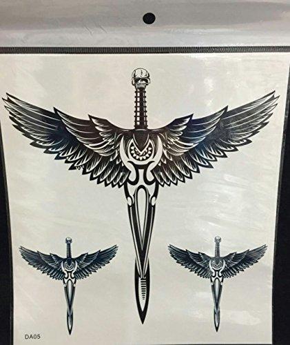 Spestyle impermeabile e non tossico grande angelo ali e teschio croce falso tatuaggi temporanei per adulti