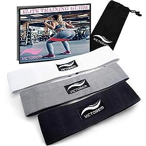 Victorem Booty Hip Band Theraband Set – 3X Fitnessband für Bein- und Po-Training mit Workout Guide und praktischer Tragetasche