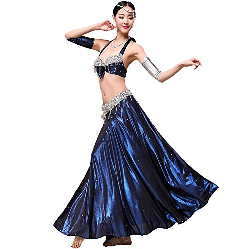 Wgwioo Dance costumes Bauch tanzen Performance Frau Handmade Diamant kristall anhänger BH Rock arm tragen modern trainieren kostüm Blue s