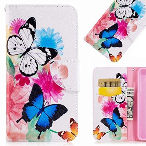 Preisvergleich Produktbild Handyhülle Huawei P10 Lite Hülle Tasche,  Ougger Schmetterlinge Beutel BriefHülle Tasche Bumper Schale Schutzhülle PU Leder Weich Magnetisch Stehen Silikon Haut Flip Cover mit Kartenslot