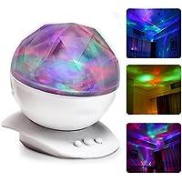 Itian Altoparlante Diamante Colorato Luci Proiettore, Luce di Notte Colorato, Lampada di Illuminazione Decorativa, con Caricatore USB, Luce e Romance
