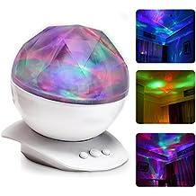 Itian Altavoz Colorido del Diamante del Norte Luces del Proyector, Luz Colorida de la Noche, Lámpara de Iluminación Decorativa, con la Carga del USB, Luz y Romance