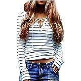 Tongshi Casual mujer rayada de manga larga camiseta de las tapas de la blusa