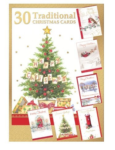 shop inc Pack of 30 Quality Christmas Cards - Assorted Bumper Traditional Xmas Cards