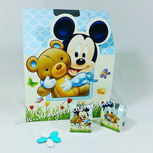 Bomboniere disney topolino 10 pezzi paperino house portaconfetti nascita battesimo scatola