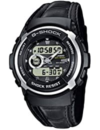 CASIO G-SHOCK Men's Combi Quartz Watch with Black Dial Analogue Display and Black Leather Strap G-300L-1AVES