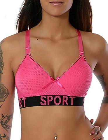 Damen Komfort Yoga Sport Push-Up BH Ohne Bügel Bustier Stretch No 15570, Farbe:Pink;Größe:S / M