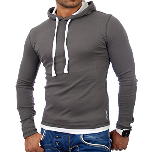 Reslad Herren Pullover Kapuzenpullover Sweatshirt Sweater Pulli Hoodie RS-1003 Anthrazit-Weiß