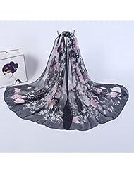 ZLL Chal de sol gasa floral creativo, bufanda, bufanda de seda , 2