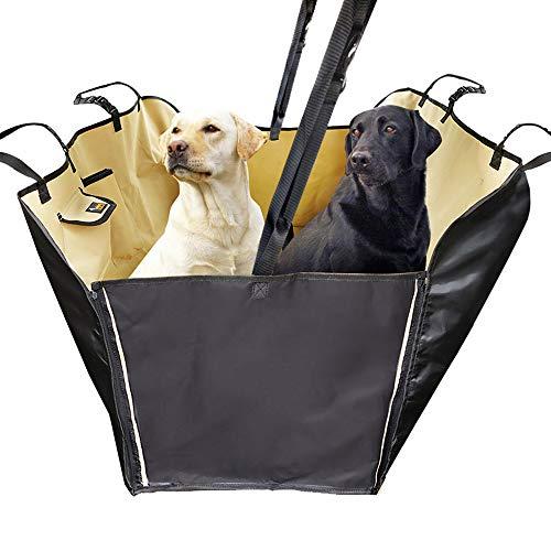 WXMYOZR rutschfeste Weiche Hund Autositzbezug Heavy Duty Wasserdichtes Material Mit Tragetasche rutschfeste Kratzfeste Haustierabdeckung Universal Passt Langlebig Waschbar (Beige) (Heavy-duty-tragetasche)