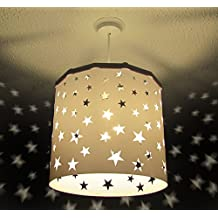 Pantalla Lámpara Colgante Estrellas Blancas (otros colores disponibles) Drum + Dispositivo Magnético, cambia la pantalla de forma fácil, rápida y segura incluso con la luz encendida. (Cable y bombilla no incluidos)