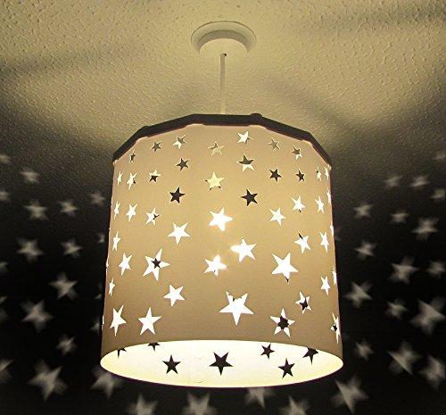 Abat-jour bébé pépinière garderie étoilé + Connecteur Magnétique EREKI pour la décoration de pièce et le changement d'ampoule sans contact (Plus de couleurs et de modèles disponibles). … (Blanc)