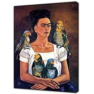 FRIDA KAHLO AND HER PARROTS OILPAINT REPRINT ON FRAMED CANVAS WALL ART 24 x 16 inch -18mm depth