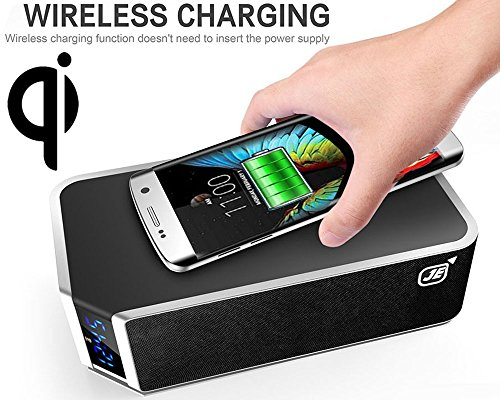 Qi Kabelloses Laden + Bluetooth Lautsprecher Box für Smartphone Kabelloser Ladegerät-Ladepad Induktiv/drahtlos...