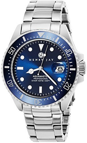 Henry Jay Mens Stainless Steel Specialty Aquamaster Professional Dive Watch with Date