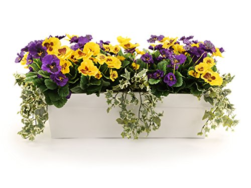 closer2nature Künstliche Violett und Gelb Stiefmütterchen Display in a 60cm glänzend weiß Pflanztrog
