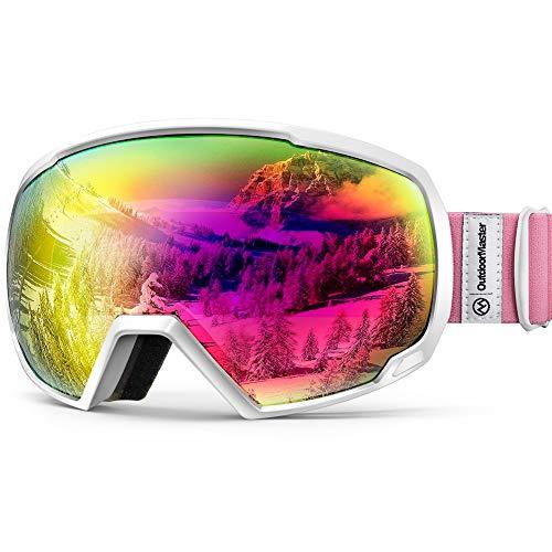 OutdoorMaster Premium Skibrille, Snowboardbrille Schneebrille OTG 100% UV-Schutz, helmkompatible Ski Goggles für Damen&Herren/Jungen&Mädchen(Weißer Rahmen + VLT 13.6% Rose Gläser)