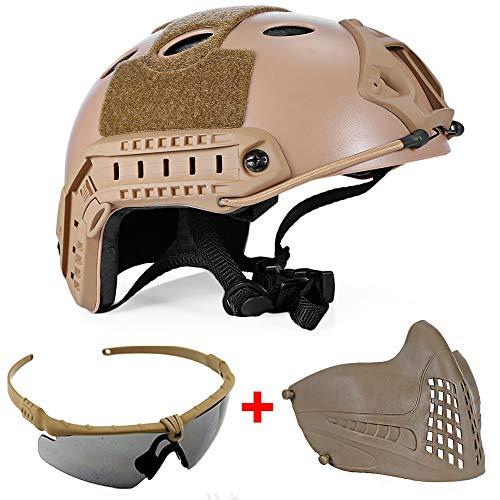 QZY Sicherheit Airsoft-Helm, Military Tactical Paintball Helm mit Brille und Maske,Brown -