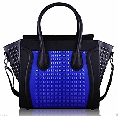 Womens Designer Faux Leather Celebrity Style Studded Smile Tote Handbags Shoulder Bags (Black/Red/White Smile Studded)