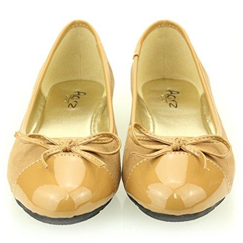 Femmes Dames Soir Casual Confort Ballerinas Plat Pompes Escarpins Sandale Chaussures Taille (Noir, Kaki) Kaki