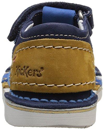 Kickers Woopy, Sandales bébé garçon Bleu (Marine/Camel)