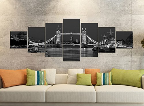 Leinwandbilder 7 Tlg 280x100cm schwarz London Skyline Tower Bridge Brücke England Leinwand Bild Teile teilig Kunstdruck Druck Wandbild mehrteilig 9YB2890, Leinwandbild 7 Tlg:ca. 280cmx100cm