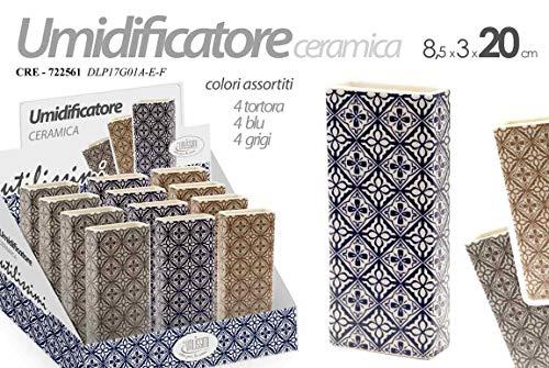 Set 3 pz Umidificatore evaporatore ambiente termosifone blu-grigio-tortora in ceramica CRE-722561 8 * 3 * 20 cm