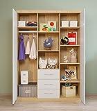 Polini Kids 0001088.22 Classic Collection 3-geteilter Kleiderschrank, Steineiche weiß glänzend