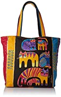 Laurel Burch Laurel Burch Shoulder Tote Zipper Top, 20-1/2-Inch by 5-1/2-Inch by 15-Inch, Fantastic Feline Totem