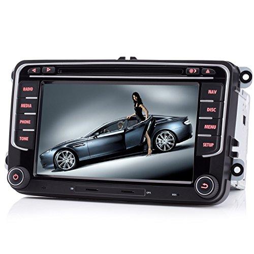"iFreGo 7"" AUTORADIO MIT 3G Wifi 7 LEDs DVD GPS NAVIGATION BLUETOOTH für VW Naviceiver mitNAVI Software inkl. Europa Karten +Micro-SD-Kartenslot + Dual USB für VW Golf 5/6,Passat CC,Tiguan,Polo,Jetta,S"