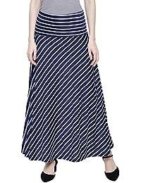 e8fa236d93 DAMEN MODE Women's Viscose Stripe Elegant Skirt (DMWS10000, White and Navy  Blue, Free