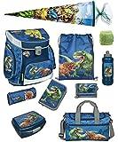Familando Dinosaurier Schulranzen-Set 10 TLG. Scooli Campus FIT mit Federmappe, Sporttasche, Schultüte 85cm und Regenschutz