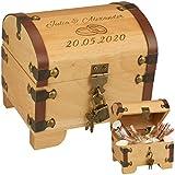 Geldgeschenke zur Hochzeit - Schatztruhe Hochzeit mit Gravur ==> 2 Namen, 1 Datum, 2 Ringe - personalisierte Hochzeitsgeschenke kaufen, Verpackung für Geldgeschenk