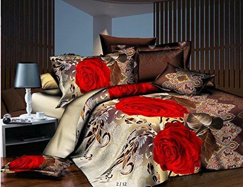 4Piece Betten Set rot Blume gedruckt Bettbezug für Doppelbetten Größe