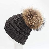 OTDORAT Moda de otoño e Invierno Orejeras Casquillos Casuales Chaquetas de esquí al Aire Libre Sombreros de Lana Sombrero de Punto Gorro Gorro de Burbuja Color sólido Salvaje (Color : Dark Gray)