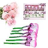 Pincel de maquillaje 6PCs TGelecstore flor rosa cepillos cosméticos de moda fácil de piel componen Brush set para la fundación, suelta, en polvo, colorete, sombra, etc.
