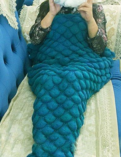 JiazuGo Handgemachtes Meerjungfrau Decke, warme Sofa-Wohnzimmer-Decke für Erwachsene und Kinder (green) (Liegende Wohnzimmer Sofa)