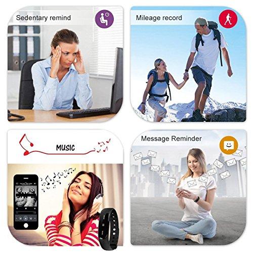 Herzfrequenz Fitness Tracker,CAMTOA ID101 Fitness Armband Pulsuhr Aktivitätstracker Wasserdicht IP67 – Schrittzähler,SMS Anrufe,Kalorienverbrauch,Kamera-Fernbedienung,ID Benachrichtigung,Musiksteuerung und Handy-Suchfunktion(USB Anschluss direkt laden) Schwarz - 8