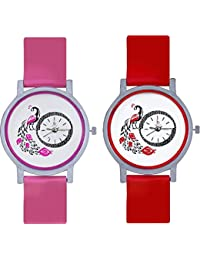 Freny Exim Glory Combo Of 2 Pink AndRed Designer And Beatiful Peacock Fancy And Trendy Women Watches For Girls...