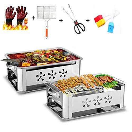 Tragbarer Grill, Edelstahl BBQ Holzkohlegrill, Bratpfanne, die Gerät kocht Für Garten, Camping, Party mit Grillhandschuhen, Grill, gegrillte Clips, Bürsten