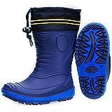 AQUAZON Classic Kinder Gummistiefel, Regenstiefel, Rain Boot, Gefüttert Mit 80% echter Schafswolle, wasserfest, federleicht für Jungen und Mädchen, Winter, Size:27, Colour:Cobalt Blue