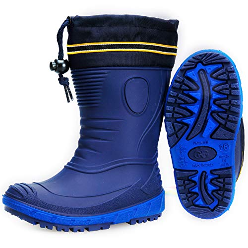 AQUAZON Classic Kinder Gummistiefel, Regenstiefel, Rain Boot, Gefüttert Mit 80% echter Schafswolle oder ungefüttert, wasserfest, federleicht für Jungen und Mädchen, Size:35, Colour:blau gefüttert