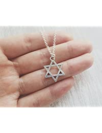 Collar de plata con diseño de estrella de David, collar de boda, collares de