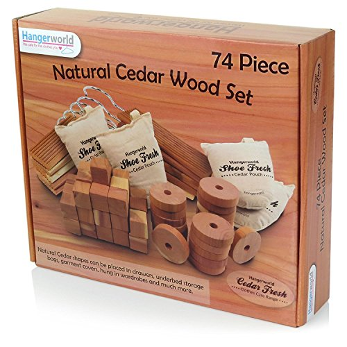 74 Zedernhölzer in verschiedenen Formen - Natürlicher Mottenschutz - Hangerworld